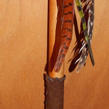 Bo Red Oak Short Staff with Tiger's Eye - Tribal Staff - Large Wand - Pagan Ceremonial/Ritual Wand - Oak & Gemstone Staff - Shaman Staff