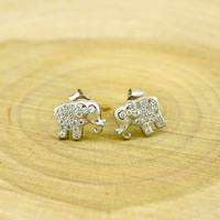 Sterling Silver Elephant Stud Earrings with Cubic Zirconia
