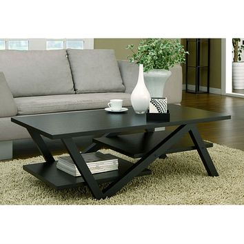 Z-Shaped Black Wood Coffee Table with Modern Floating Shelves