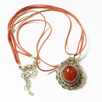 Red Stone Necklace, Silver Medallion, Red Jasper, Orange River Rock, Polished Stone Pendant, Orange Cord, Vintage Western Jewelry