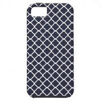 Ink Blue And White Quatrefoil. Moroccan Pattern iPhone 5 Covers from Zazzle.com