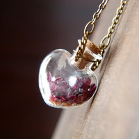 Passionate Heart Vial Necklace - Garnet Wire Wrapped Pendant Necklace - Heart Shaped Bottle Necklace