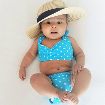 Baby's Baby Blue Dots Swimsuit
