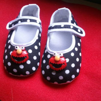 Elmo Baby Shoes, Flat Baby Shoes,Christening baby shoes, Wedding baby shoes, Velcro baby shoes, Wedding, Black ,Polka Dot Ready to ship