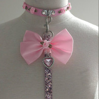 Luxe petplay ddlg collar and leash set bdsm