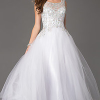 Embellished Open Back Tulle Ball Gown