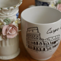 Morning Getaways| Colosseum- Carpe Diem Ancient Rome Inspired Hand Printed Mug | 12 oz.