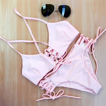 New Fashion Slim Women Sexy Casual Bandage Pink Bikini Set Swimwear Vintage Swimsuit Size S,M,L