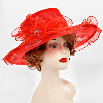 Christmas Red Flower Wedding Dress Hat Kentucky Derby Hat Women Wide Brim Church Hat new 2015