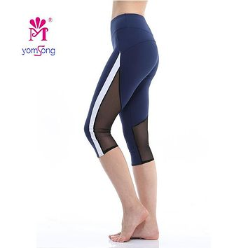 Yomsong Women Pants Workout Leggings Female Fitness Sweatpants Streched Mesh Leggins Capri Leggings Women Push Up Capris 402