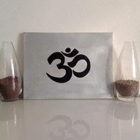 "Yoga ""OM"" - mid-size canvas silver gray black - Yoga Wall Art handmade written - original by misssfaith"