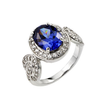 925 Sterling Silver Ladies Jewelry This Is A Ring w/ Tanzanite Center Stone, Oval Link Design And Cubic Zirconia Inlay.Ring Center Is 13.9mm X 12.2mm  Come In Sizes Of 5, 6, 7, 8, And 9.: Size: 5