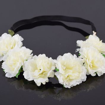 CXADDITIONS Girl Women Handmade Gradient Carnation Flower Wreath Crown Garland Halo Festival Hair Headband Headpiece Floral