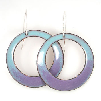 Hanging Earrings in Light Blue and Purple