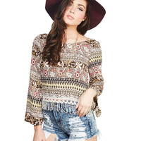 Gypsy Print Bell Sleeve Blouse | Wet Seal