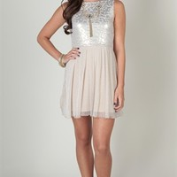 homecoming dress with metallic bodice and ballerina skirt