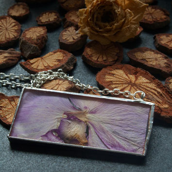 Purple orchid necklace. Dried flower jewelry. Soldered glass pendant.