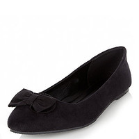 Wide Fit Black Bow Front Ballet Pumps