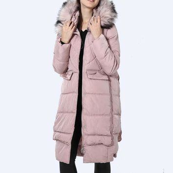 Fur Hood Parka Winter Jacket Women Casual X-Long Down Jacket Snow classic Coat