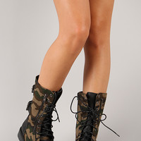 Lug-12 Camouflage Military Lace Up Boot