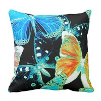 Vibrant multi colorful flock of butterflies design throw pillow
