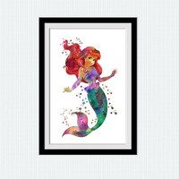 Ariel watercolor art print The Little mermaid colorful poster Disney princess decor Home decoration Kids room wall art Nursery decor W493