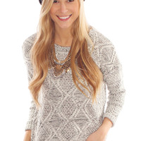 double crossed knit sweater - white