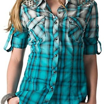 Rock & Roll Cowgirl Women's Turquoise Ombre Plaid with Nailheads Long to 3/4 Sleeves Western Shirt
