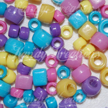 SALE 500 Pastel Mixed Sizes Pony Beads Cubes Mini For Kandi Raver Hair Jewelry Crafts Crow Pink Light Blue Yellow Purple kandy rave kid
