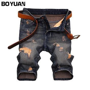 BOYUAN Shorts Men Jeans Ripped Men Jeans 2017 Summer Casual Shorts Denim Men Distressed Knee Length Men Jean Shorts New X687