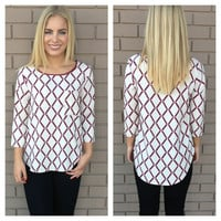 Burgundy Diamond Blouse