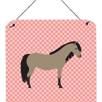 Welsh Pony Horse Pink Check Wall or Door Hanging Prints BB7910DS66