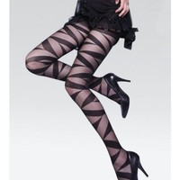 *Free Shipping* Black Retro Geometric Pattern Ultra-thin Silk Sexy Stockings  from clothingloves
