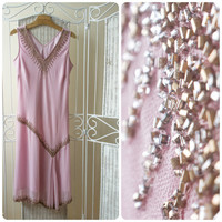 Plus size, Ethereal evening pink beaded, flapper dress. Great Gatsby. Drop waist cocktail dress.