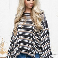 Mocha Striped Oversize Top