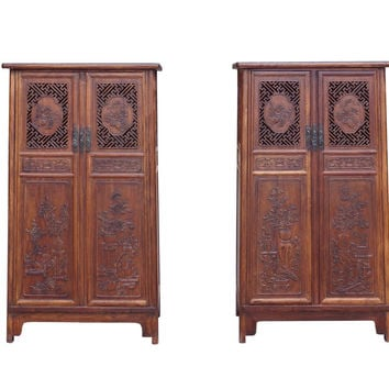 Chinese Pair Huali Rosewood Panel Doors Noodle Cabinets cs1500S
