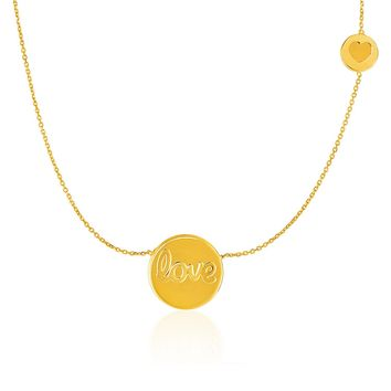 14K Yellow Gold Necklace with Round  inchesLove inches and Heart Elements