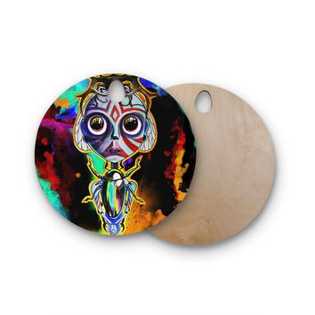 """Ivan joh """"Girl And Beetles"""" Red Blue Fantasy Pop Art Illustration Painting Round Wooden Cutting Board"""