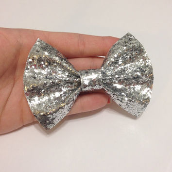 Chunky Silver Glitter Canvas Hair Bow on Alligator Clip - 4 Inches Wide - AFFORDABOW Line - Affordable and High Quality Hair Bows