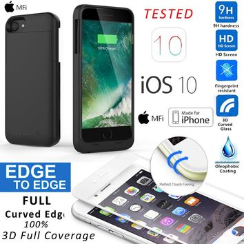 MFI Portable Charger Power Extended Battery Case 3D Glass For iPhone 5 6s 7 Plus
