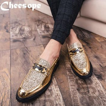 Men Thick Bottom Dress Shoes Luxury Italian Style Fashion Men Formal Shoes Brand Men Trend Bring Business Leather Shoes Men