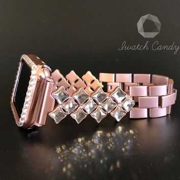 38mm 42mm Apple Watch Band Series 1,2,3  Women's 1 /2 Row Case Cover Bezel Clear Swarovski Crystals Rose Gold Crystal Stainless Steel Band