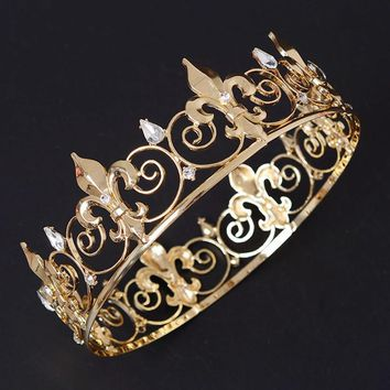 Baroque Vintage Large Metal Prom King Queen Crown Rhinestone Full Round Circle Wedding Tiara Bridal Hair Accessories For Bride