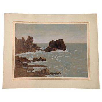 Pre-owned Watercolor Painting - Lamont Warner - Seascape
