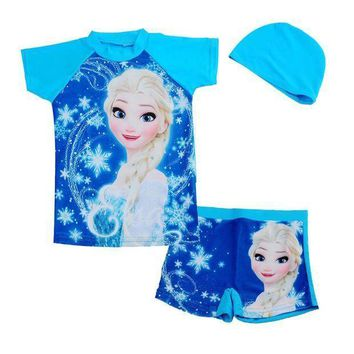 Retail Blue Anna Elsa Sister Rash Guard Kids Short Sleeve Swimsuit For Girls Sun Protection Anti Uv Swimwear Surfing Clothes