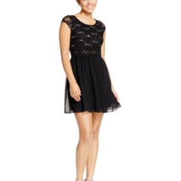 BCX Juniors' Sequin Lace Chiffon Dress | macys.com