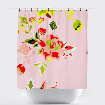 Pink Shabby Chic Floral Shower Curtain
