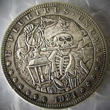 HB(16) US 1921 Morgan Dollar With Pirate Captains skull zombie skeleton Hand Carved Copy Coins