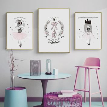 Cute Cartoon Ballet Girl Canvas Art Print Wall Painting/Poster/Pictures for Children's Bedroom Living Room Wall Art Home Decor F