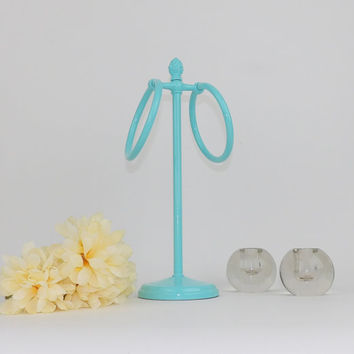 Hand Towel Stand Washcloth Holder Light Blue Bathroom Decor Vintage Rings Rack Counter top Storage Freestanding Powder Room Towel Rack